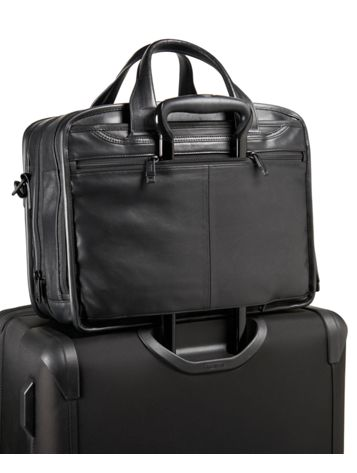 Expandable Organizer Laptop Leather Brief in Black Side View
