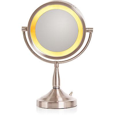 jerdon brushed nickel lighted pedestal makeup mirror cosmetics fr. Black Bedroom Furniture Sets. Home Design Ideas