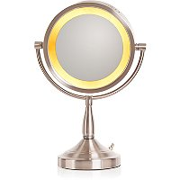 JerdonBrushed Nickel Lighted Pedestal Makeup Mirror