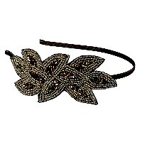ElleGold/Bronze Beaded Applique Headband