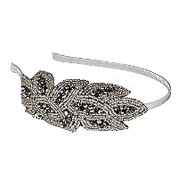 ElleBeaded Silver Flower Headband
