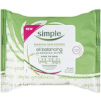 SimpleKind To Skin Oil Balancing Cleansing Wipes 25 Ct