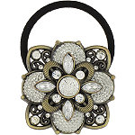 Capelli New YorkBurnished Gold Caviar Gem Flower Ponytail Holder