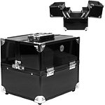 9 Inch Four Drawer Shiny Black 9 Inch Train Case