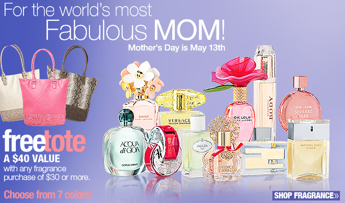 FREE tote with $30 or more fragrance purchase