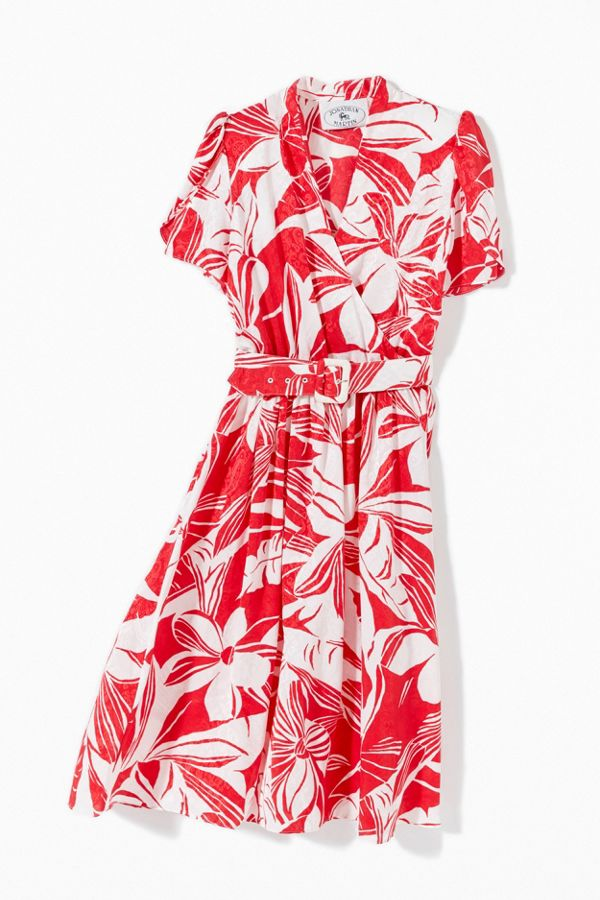 Vintage Red Floral Surplice Belted Midi Dress  | Urban Outfitters