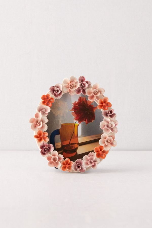 Slide View: 1: Floral Ceramic 4x6 Picture Frame
