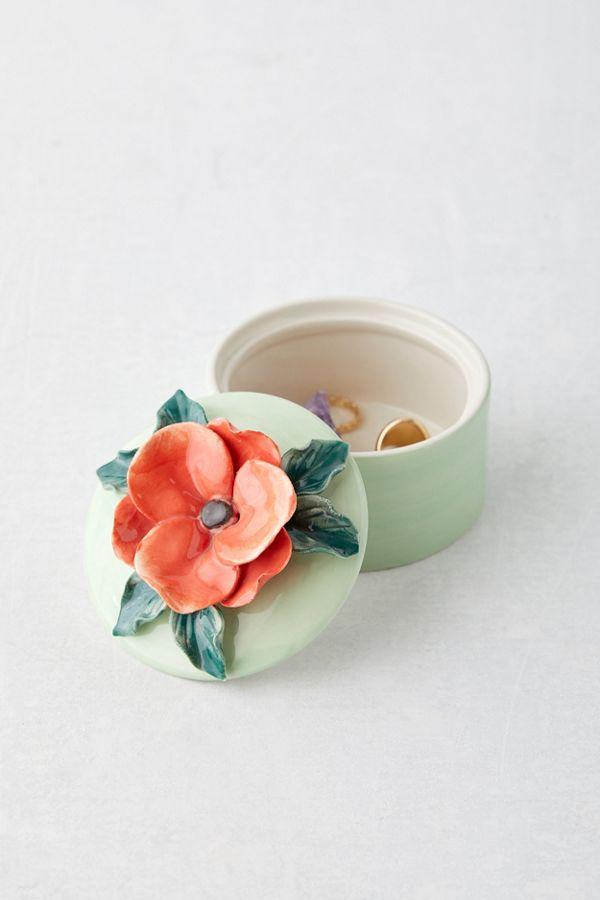 Slide View: 1: Ceramic Flower Stash Box