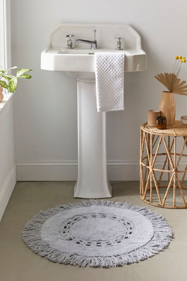 Slide View: 2: Raine Crochet Round Bath Mat