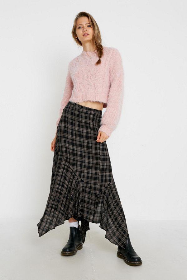 UO Plaid Asymmetrical Hem Midi Skirt | Urban Outfitters