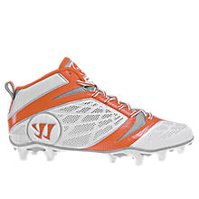 Burn Speed 6.0 Mid Cleat, White with Orange