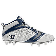 Burn Speed 6.0 Mid Cleat, White with Blue