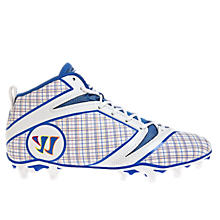 Burn Speed 6.0 Mid Cleat - Plaid Edition, Grey with White & Blue