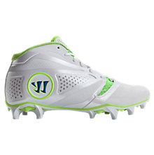 Burn 7.0 Headstrong Mid Cleat, White with Neon Green & Neon Blue