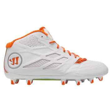 Burn 8.0 Mid Cleat, White with Orange