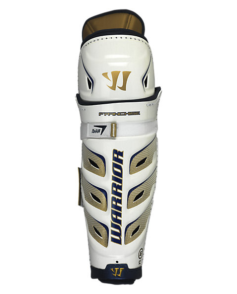 Franchise Shin Guard, White with Gold & Black