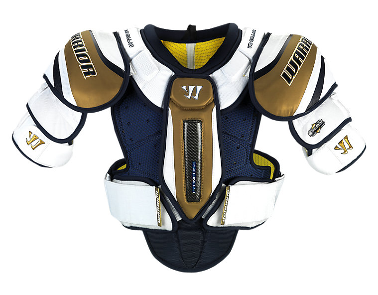 Franchise Shoulder Pad, White with Navy & Gold