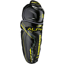 Alpha QX3 JR Shin Guards, Black with Yellow & Grey