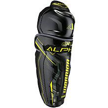 Alpha QX3 JR Shin Guards, Black with Yellow & Grey