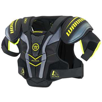 Alpha QX3 JR Shoulder Pads, Black with Yellow & Grey