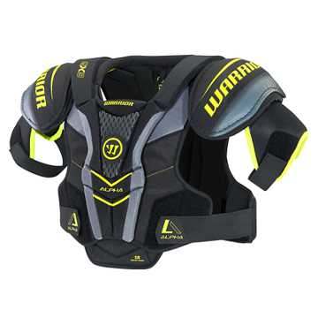 Alpha QX3 SR Shoulder Pads, Black with Yellow & Grey