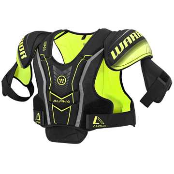 Alpha QX4 JR Shoulder Pads, Black with Yellow & Grey