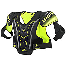 Alpha QX4 SR Shoulder Pads, Black with Yellow & Grey