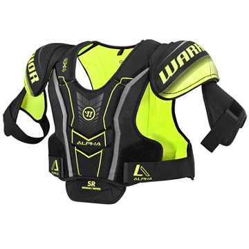 Alpha QX4 SR Shoulder Pads, Black with Yellow & Grey
