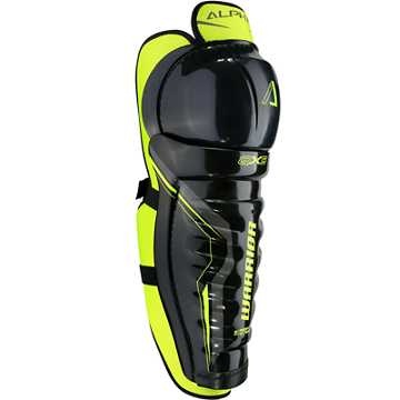 Alpha QX5 JR Shin Guards, Black with Yellow