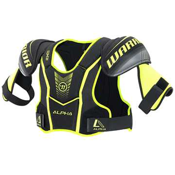 Alpha QX5 SR Shoulder Pads, Black with Yellow & Grey