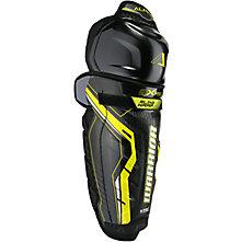 Alpha QX Pro JR Shin Guards, Black with Yellow & Grey