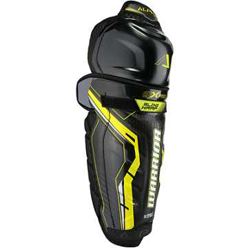Alpha QX Pro SR Shin Guards, Black with Yellow & Grey