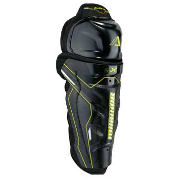 Alpha QX YTH Shin Guard, Black with Yellow