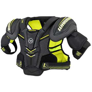 Alpha QX JR Shoulder Pads, Black with Yellow