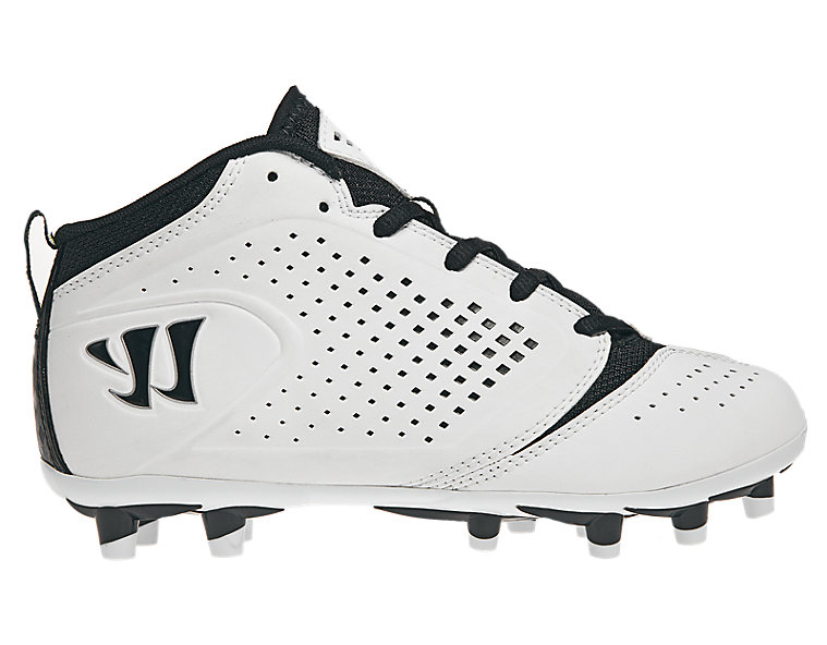 Youth Burn Speed Jr. 5.0 Cleat, White with Black