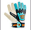 Skreamer Combat Junior Goalkeeper Gloves, White with Blue Radiance & Insignia Blue