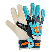 Skreamer Combat Goalkeeper Gloves, White with Blue & Blue