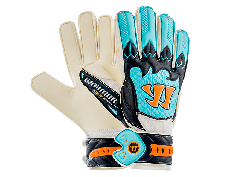 Skreamer Sentry Junior Goalkeeper Gloves, White with Blue Radiance & Insignia Blue