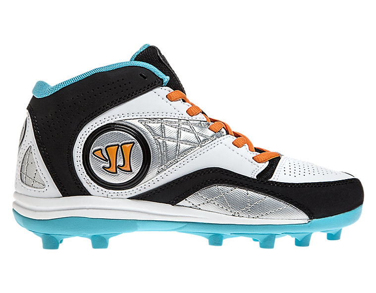Youth Vex 2.0 Cleat, White with Blue & Black