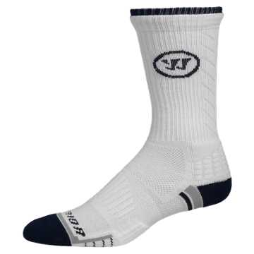 Warrior Crew Sock, White with Navy