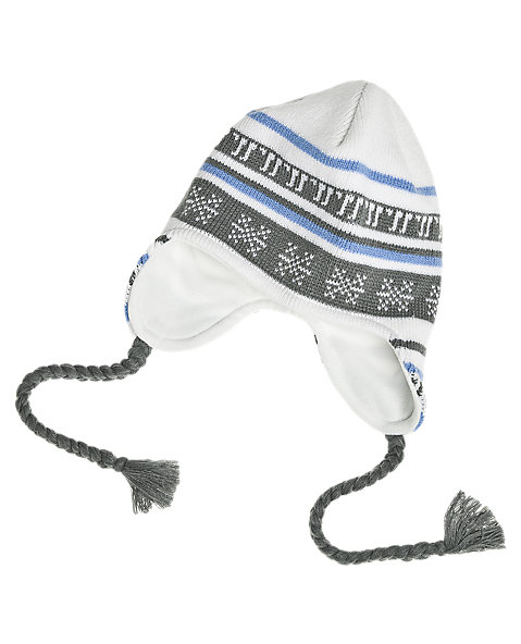 Lodge Beanie, White with Grey & Blue