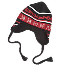 Lodge Beanie, Black with Red & White