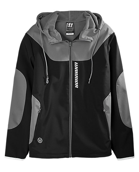 Softshell Hooded Jacket, Black with Grey