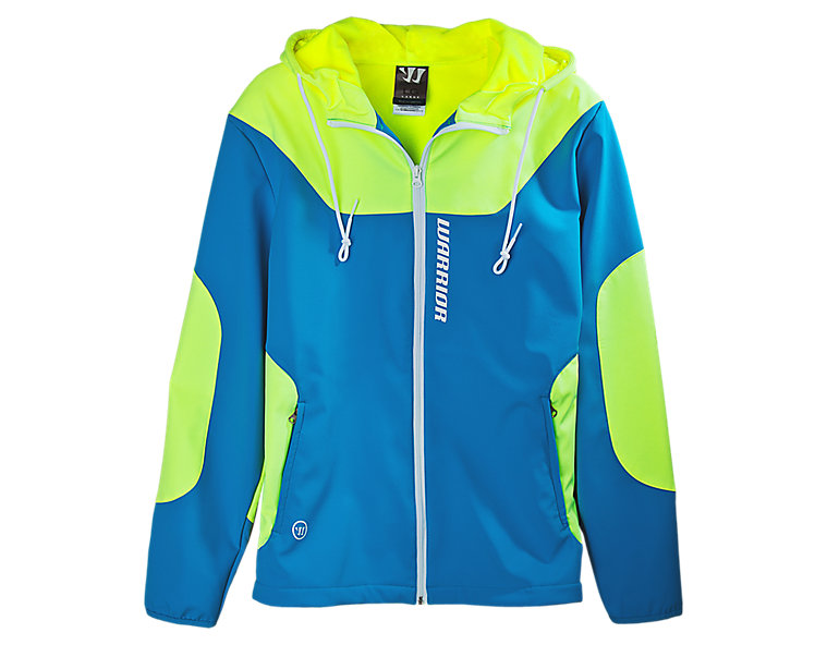 Softshell Hooded Jacket, Kinetic Blue with Neon Yellow