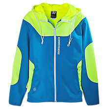 Softshell Hooded Jacket, Blue with Yellow
