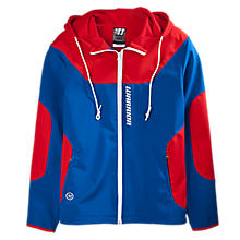 Softshell Hooded Jacket, Navy with Red