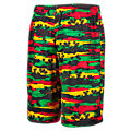 Youth Hawaiian Short, Black with Red & Green