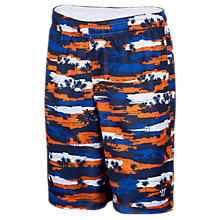 Youth Hawaiian Short, Blue with Orange