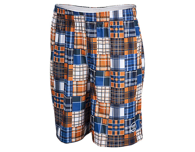 Caddy Madras Short, Blue with Orange