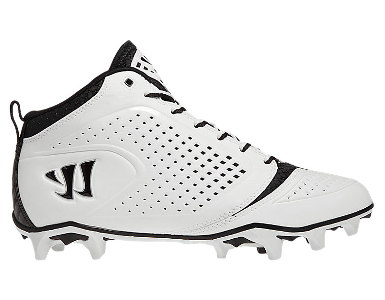 Burn Speed 5.0 Mid Cleat, White with Black